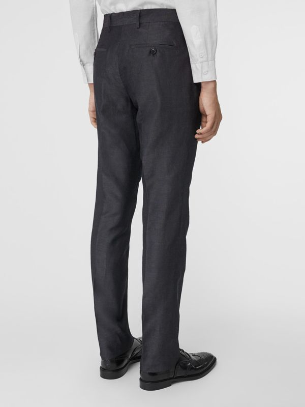 Classic Fit Triple Stud Silk Linen Tailored Trousers in Silver Grey | Burberry - cell image 2
