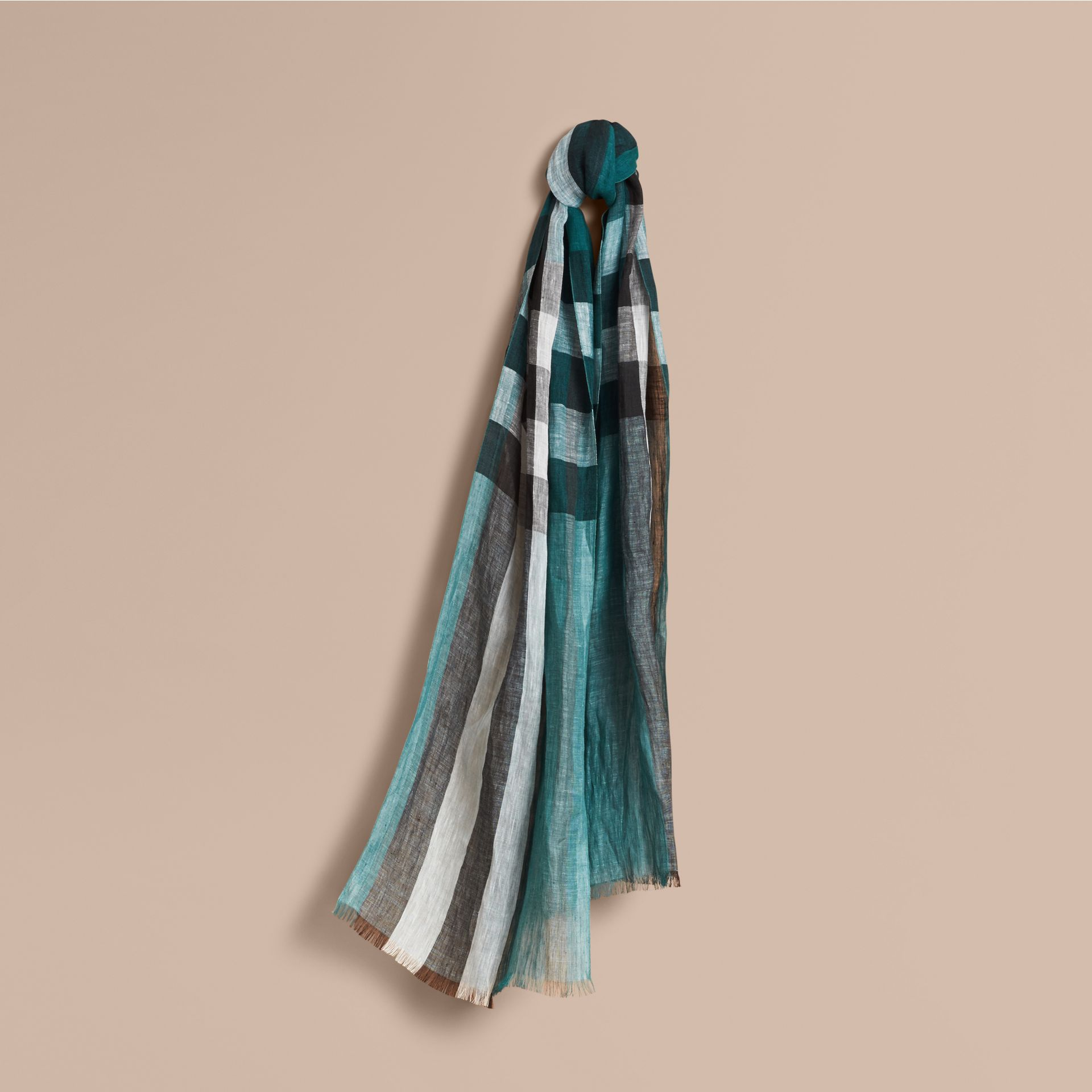 Lightweight Check Linen Scarf in Dark Teal - gallery image 1