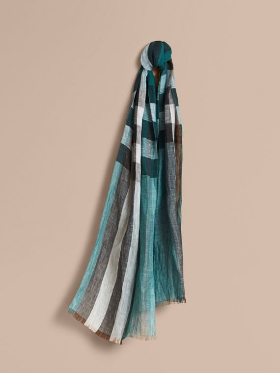 Lightweight Check Linen Scarf Dark Teal