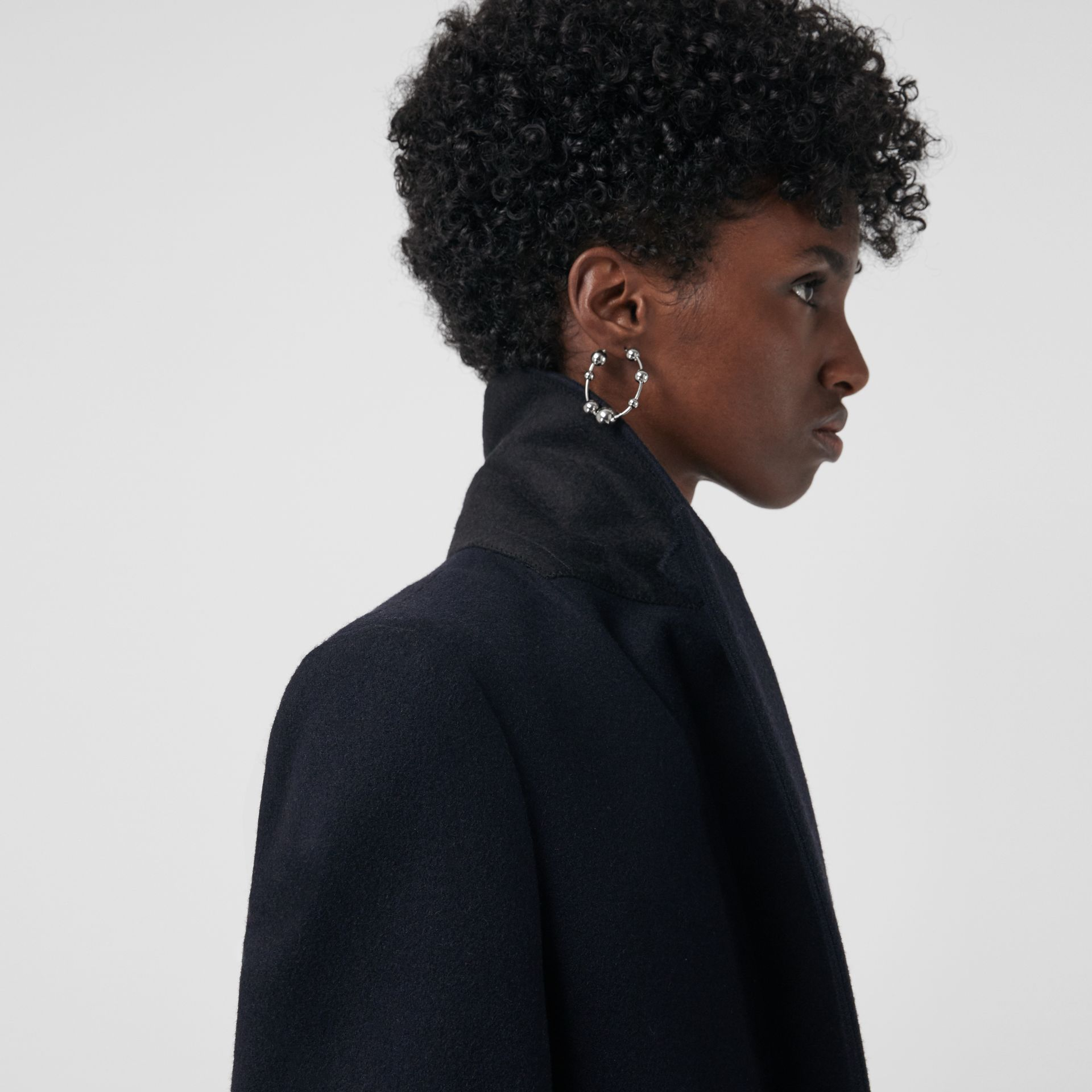 Cashmere Tailored Coat in Navy - Women | Burberry Singapore - gallery image 4