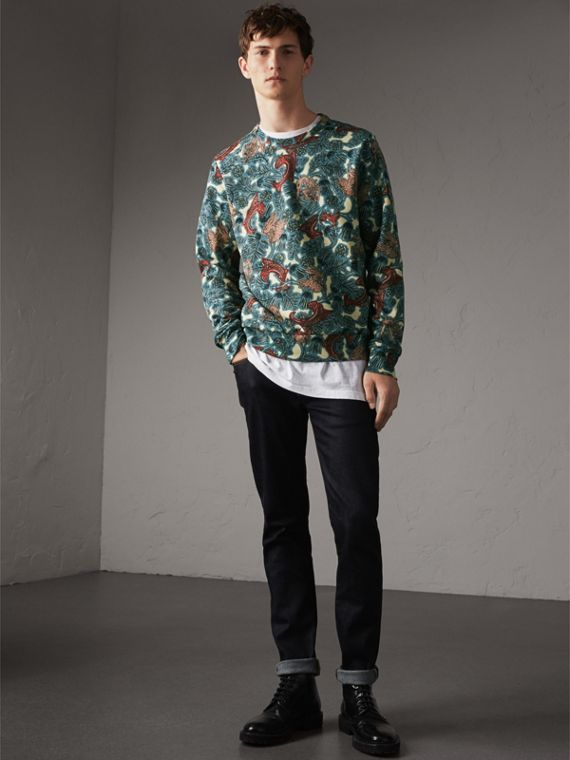 Beasts Print Cotton Sweatshirt in Mineral Blue - Men | Burberry - cell image 3