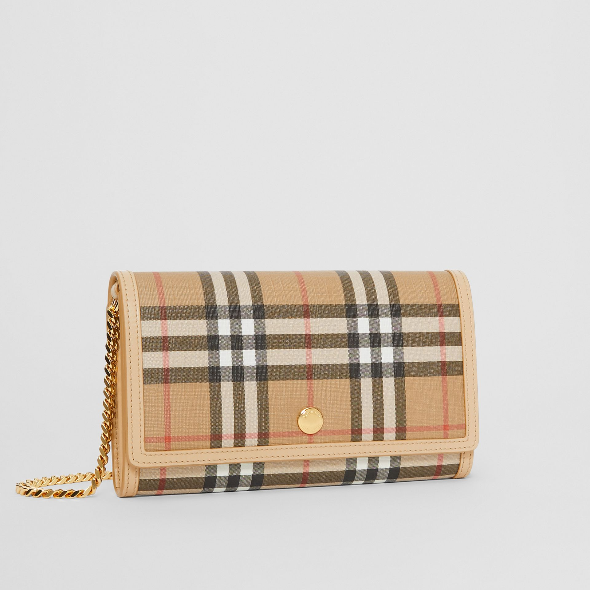 Vintage Check E-canvas Wallet with Detachable Strap in Beige - Women | Burberry - gallery image 6