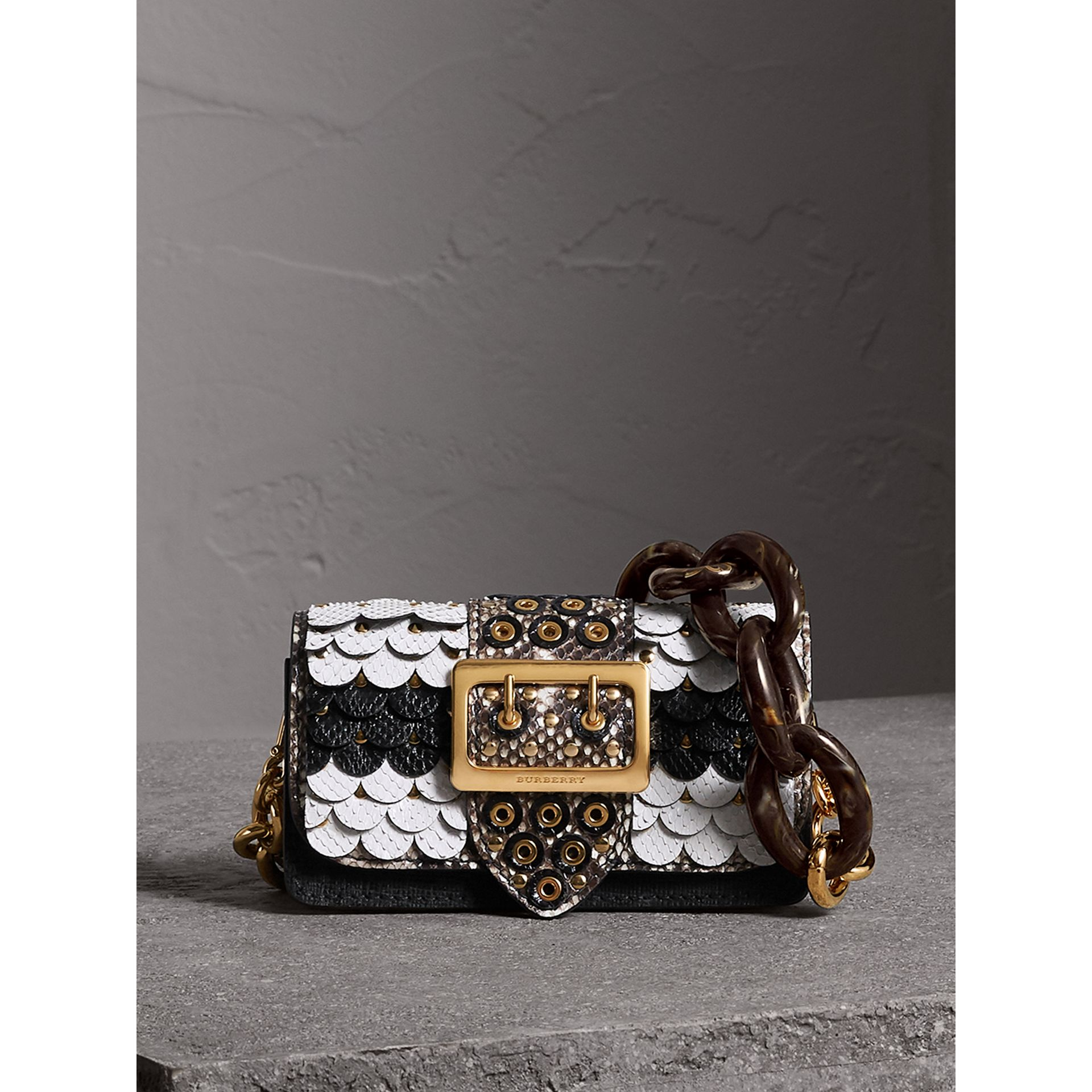 The Small Buckle Bag in Scalloped Snakeskin in Black/white - Women | Burberry - gallery image 1