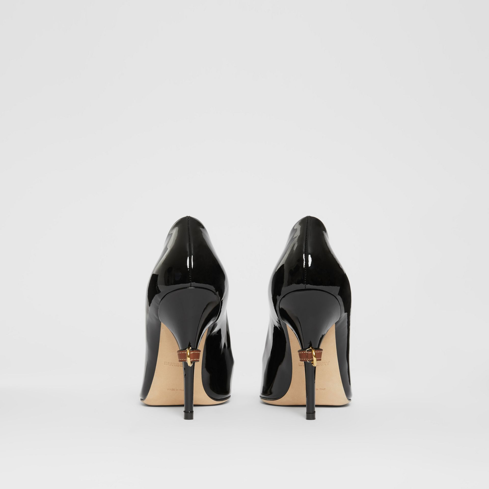 D-ring Detail Patent Leather Square-toe Pumps in Black - Women | Burberry - gallery image 4