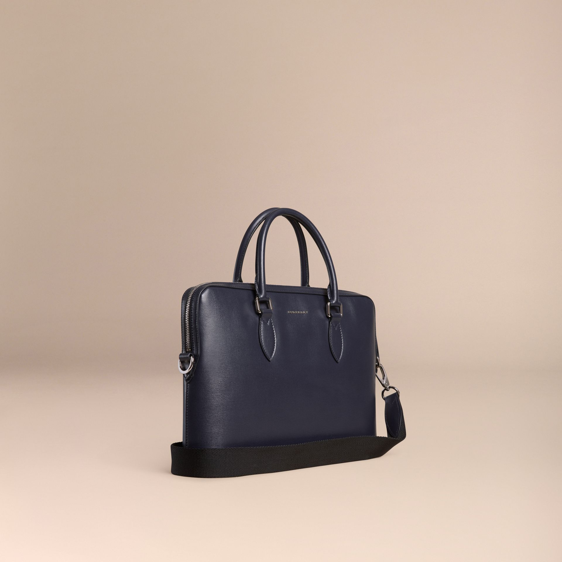 The Slim Barrow in London Leather in Dark Navy - gallery image 1