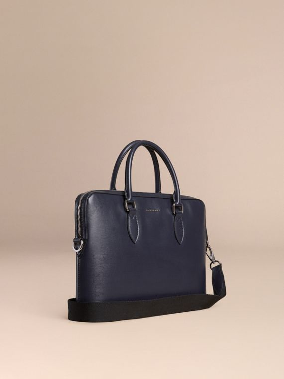 Sac The Barrow fin en cuir London Marine Foncé