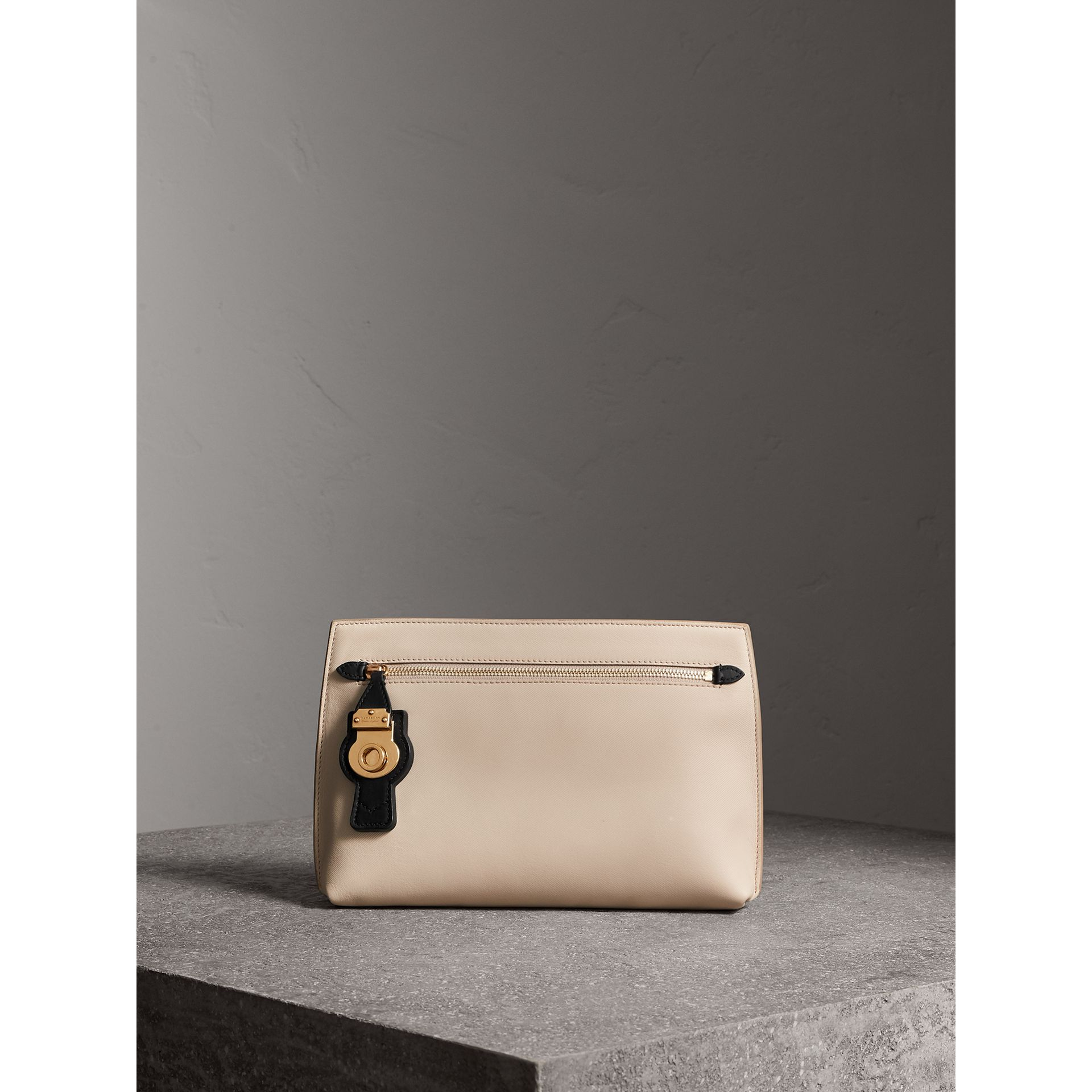 Two-tone Trench Leather Wristlet Pouch in Limestone/black - Women | Burberry - gallery image 0