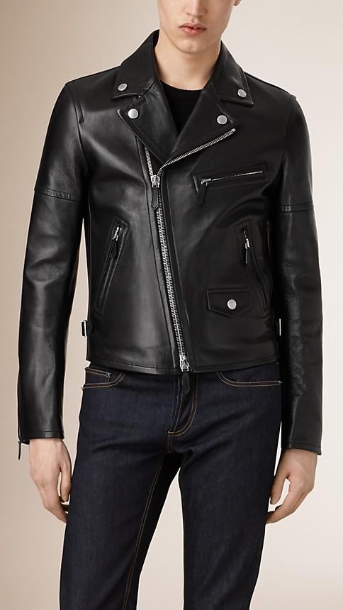 Black Leather Biker Jacket - Image 1