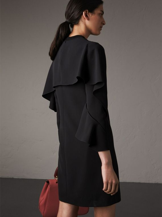 Curved Panel Silk Shift Dress in Black - Women | Burberry - cell image 2