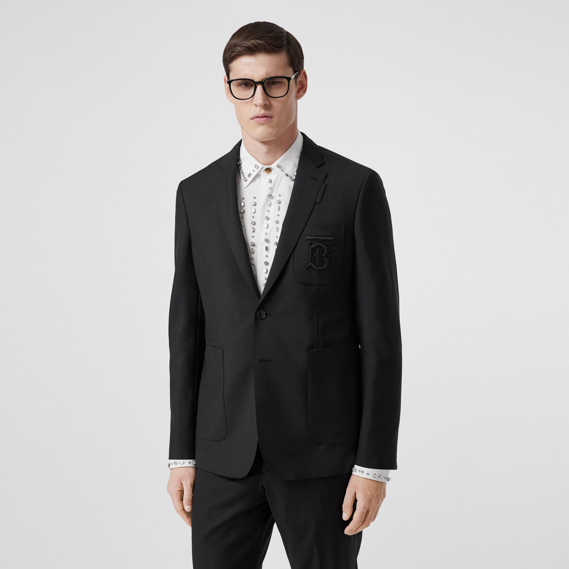 Slim Fit Monogram Motif Wool Mohair Tailored Jacket in Black - Men | Burberry - gallery image 4