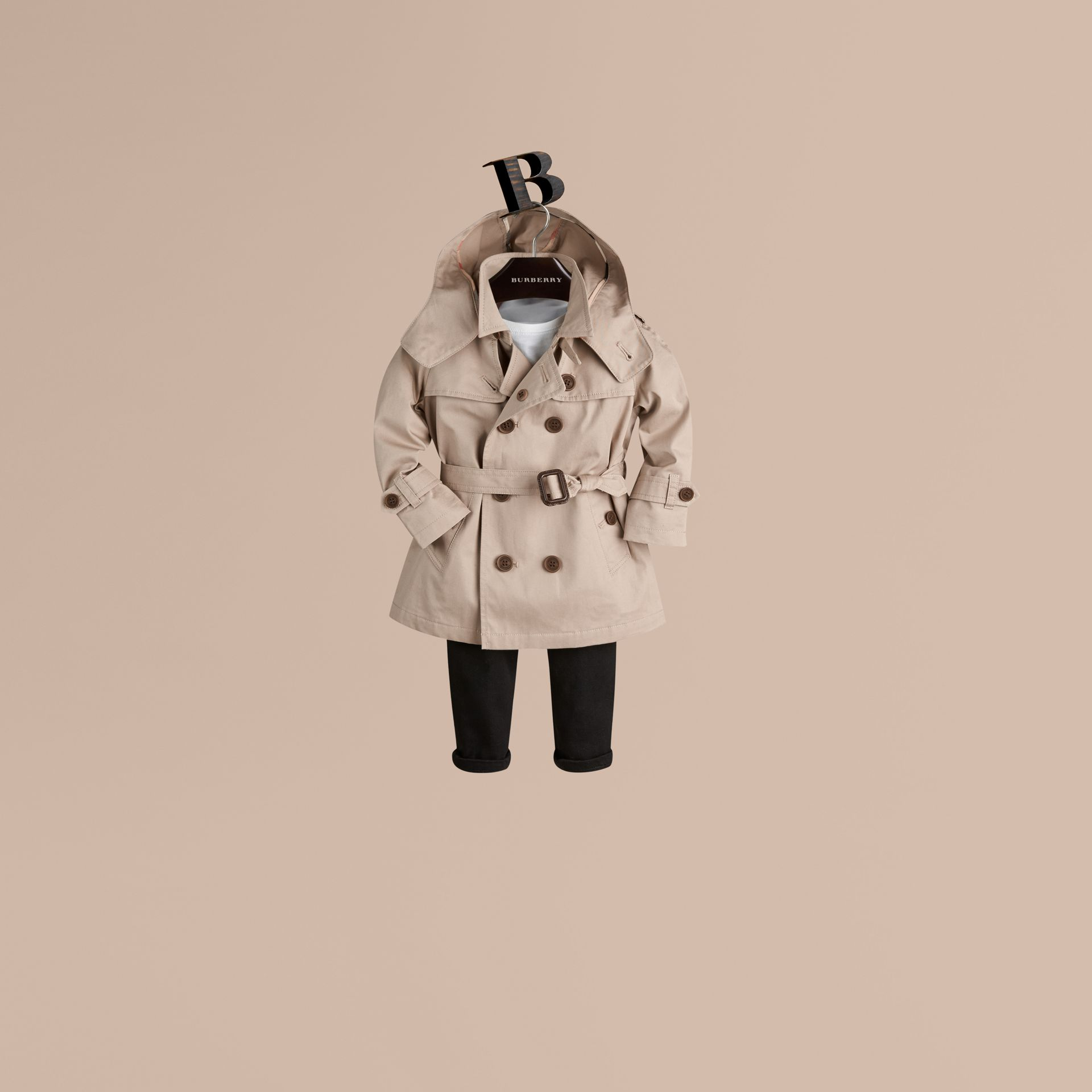 Taupe Hooded Cotton Twill Trench Coat - gallery image 1