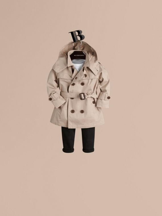 Hooded Cotton Twill Trench Coat Taupe