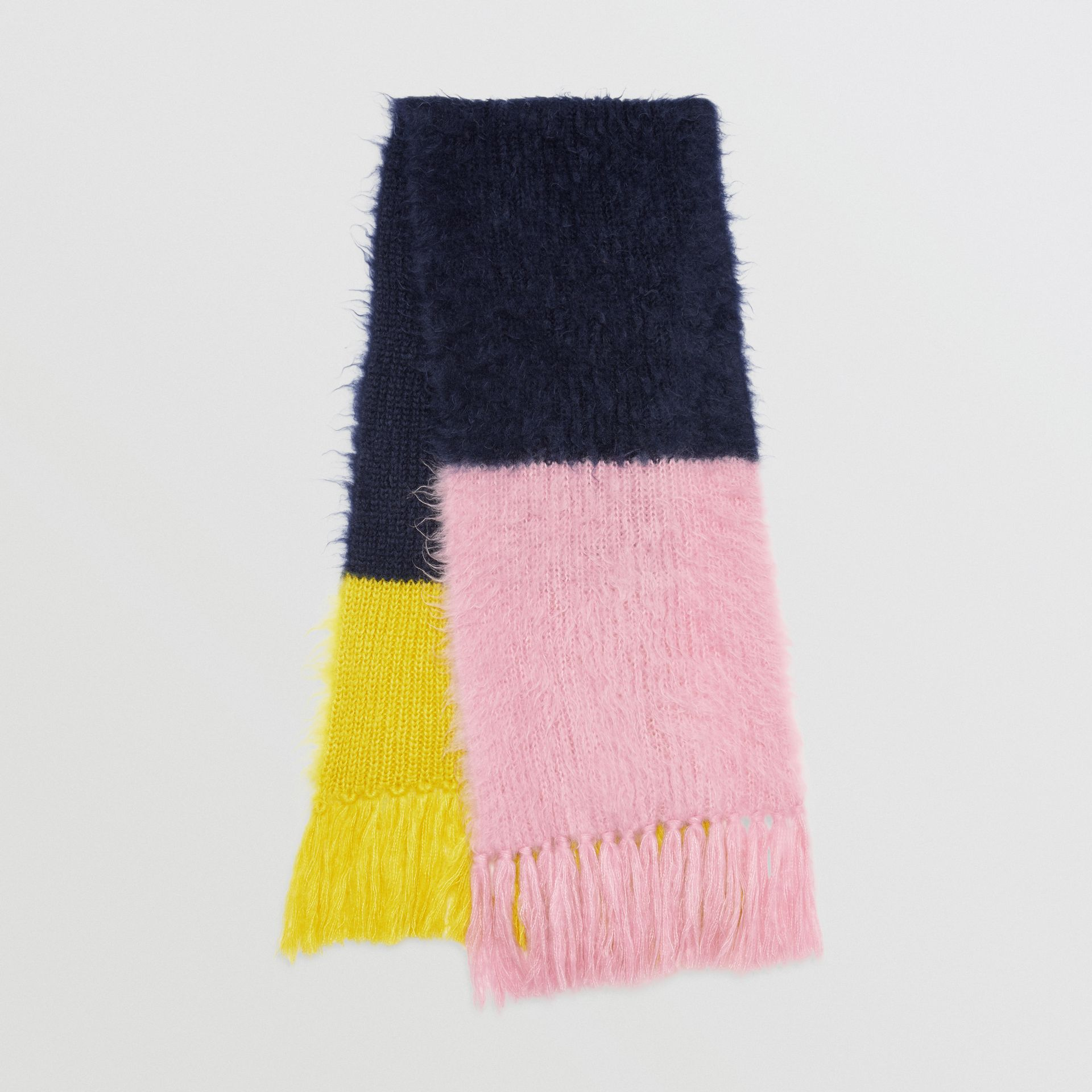 Colour Block Mohair Silk Oversized Scarf in Ink Blue - Women | Burberry - gallery image 0