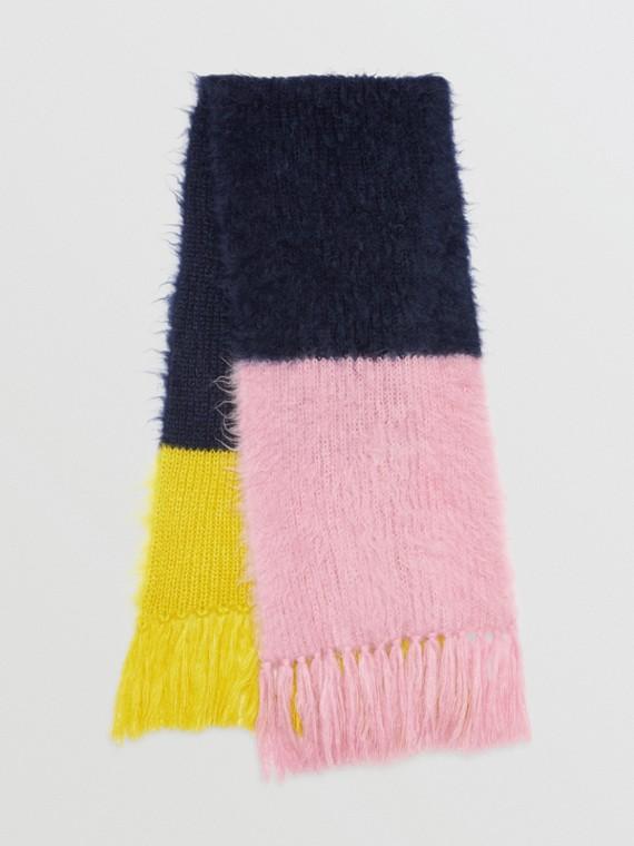 Oversize-Schal aus Mohair und Seide im Colour-Blocking-Design (Tintenblau)