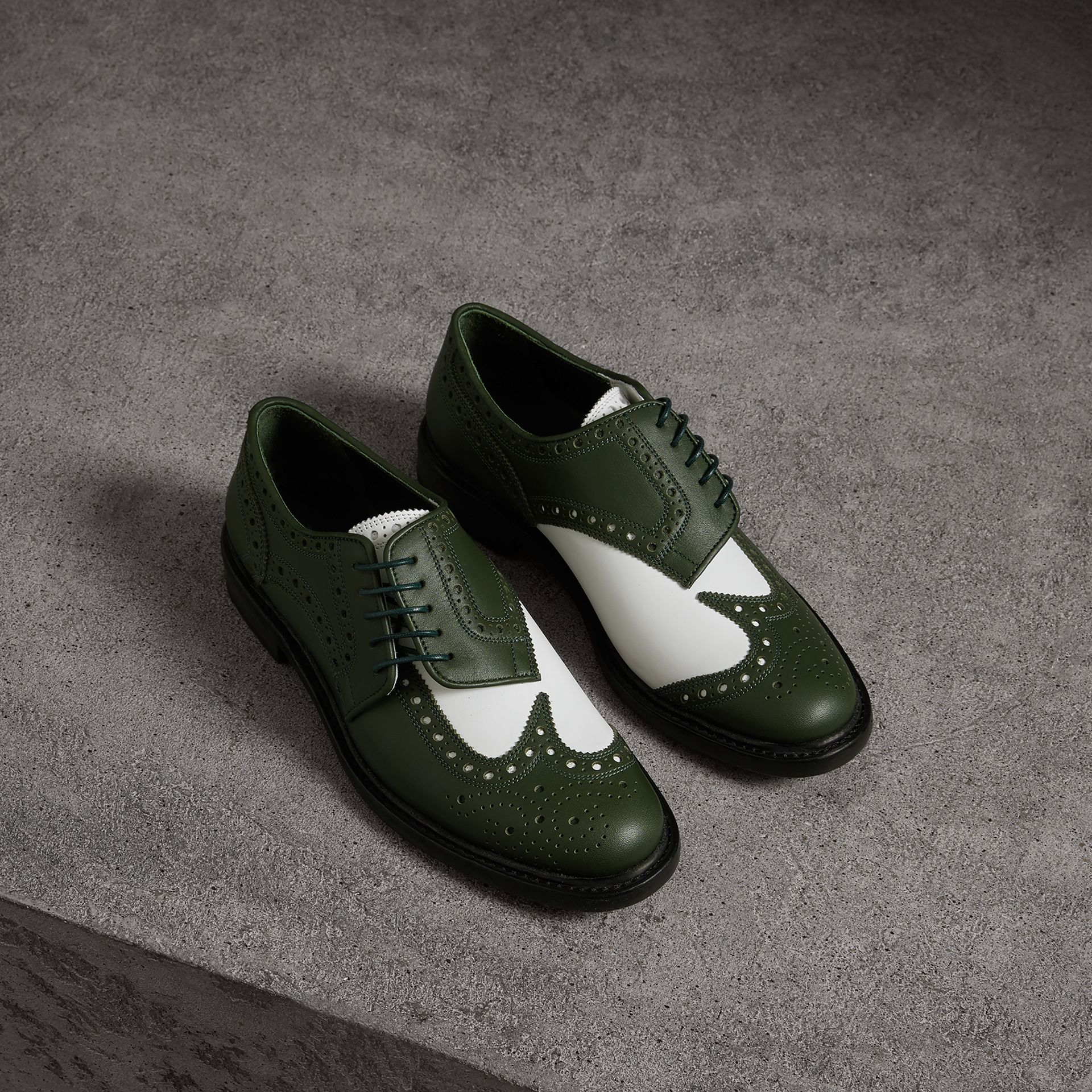 Two-tone Asymmetric Closure Leather Brogues in Dark Green - Women | Burberry Singapore - gallery image 0