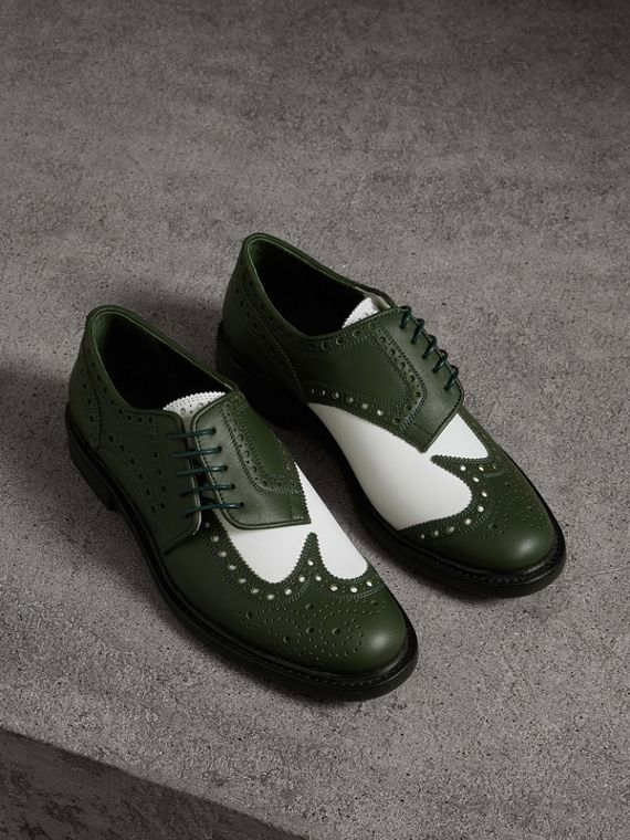 Two-tone Asymmetric Closure Leather Brogues in Dark Green