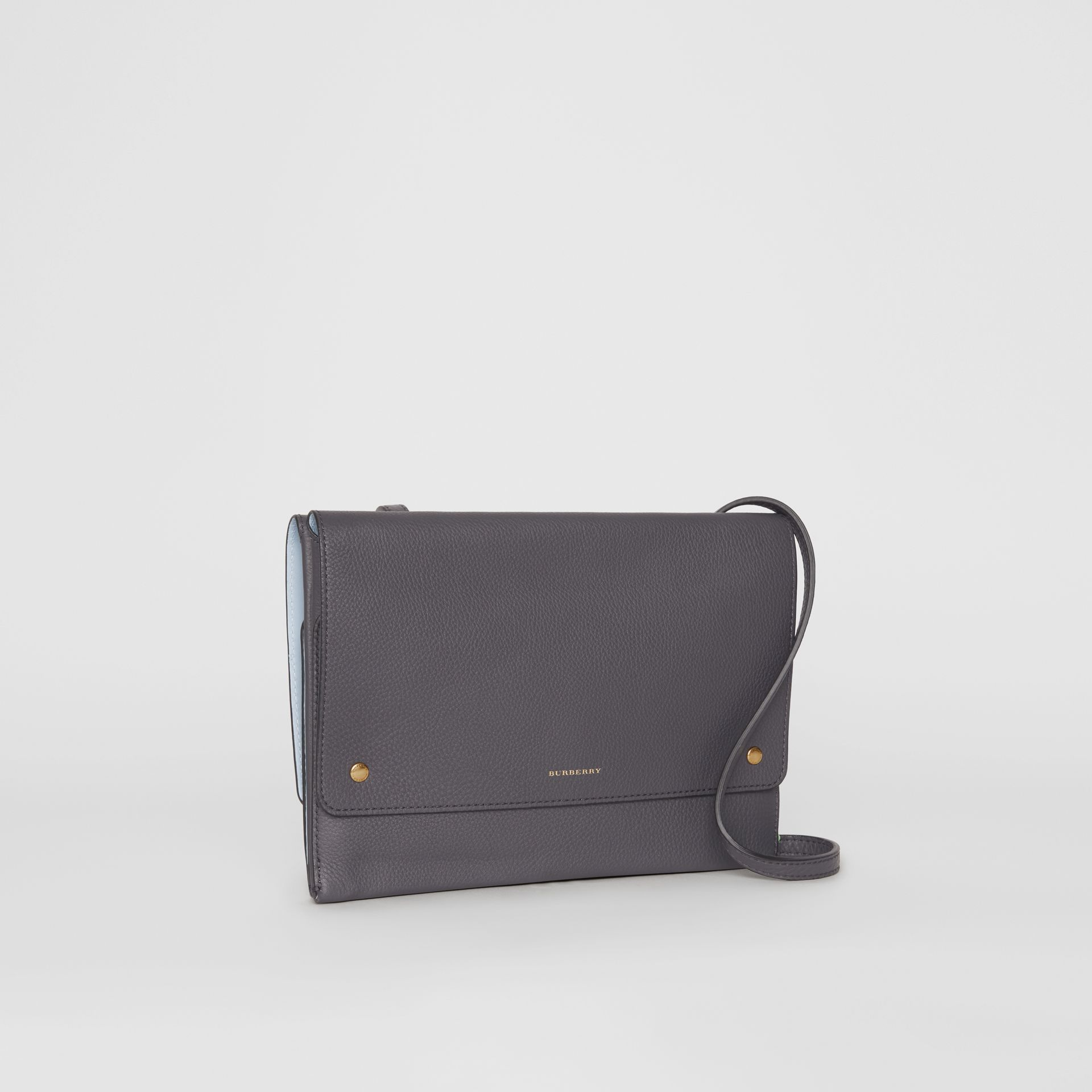 Leather Envelope Crossbody Bag in Charcoal Grey - Women | Burberry Australia - gallery image 4