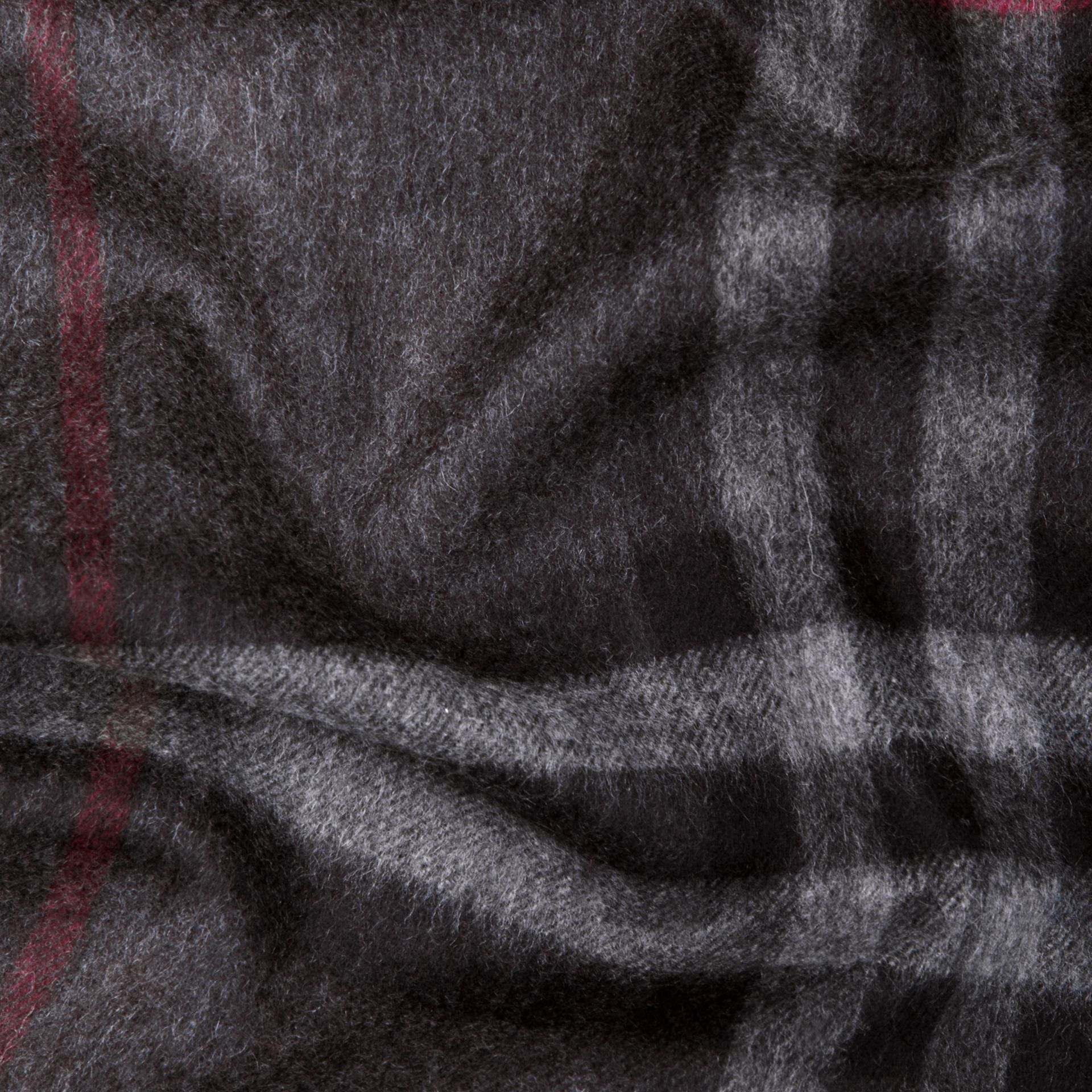 Charcoal check The Classic Cashmere Scarf in Check Charcoal - gallery image 5