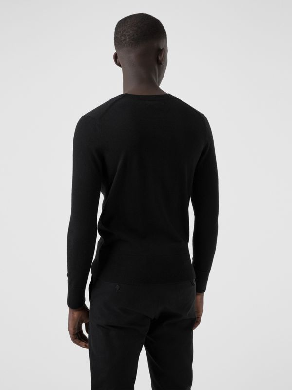 Crew Neck Cashmere Sweater in Black - Men | Burberry Australia - cell image 2