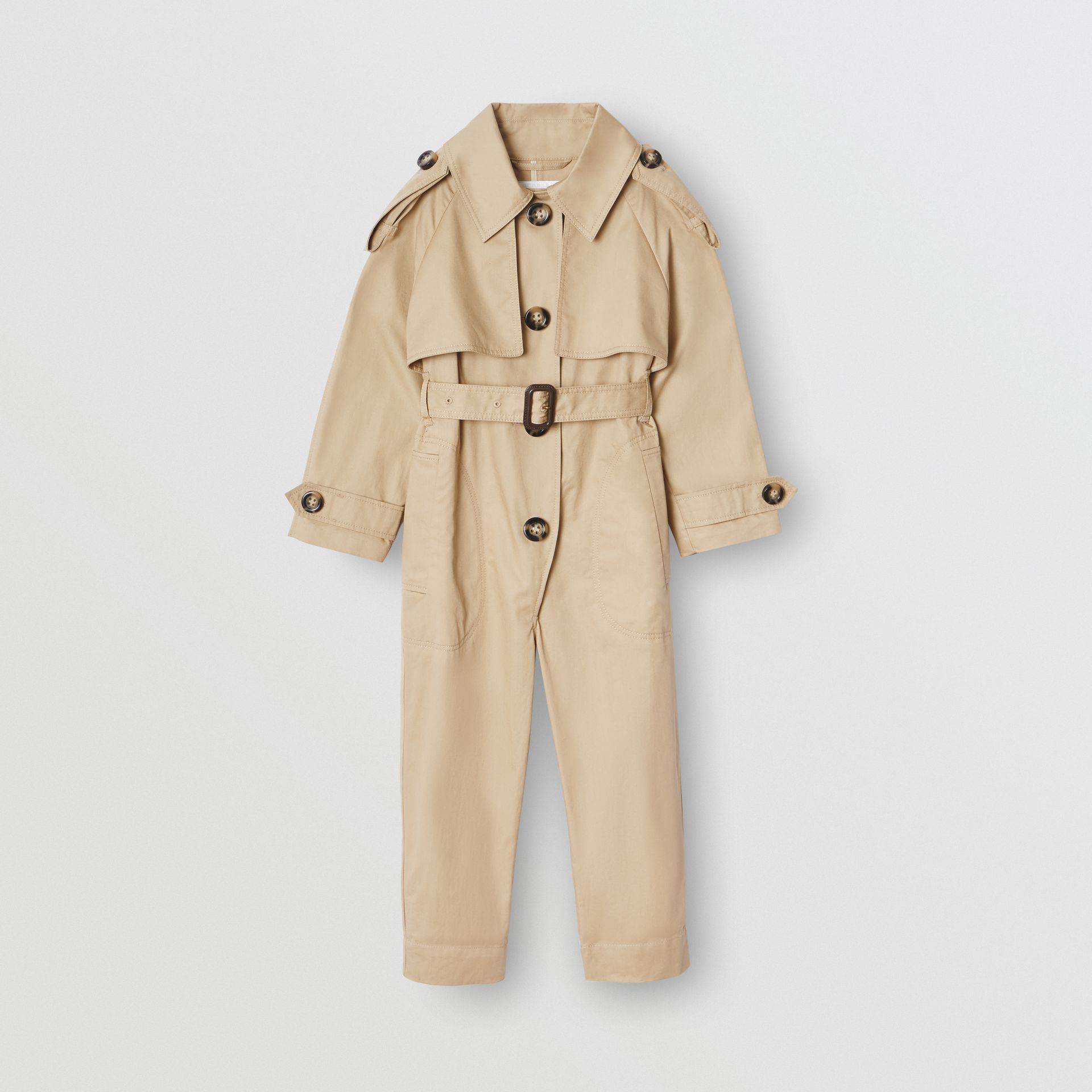 Cotton Trench Jumpsuit in Honey | Burberry - gallery image 0