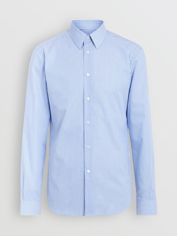 Slim Fit Striped Cotton Shirt in Mid Blue Stripe - Men | Burberry Canada - cell image 3