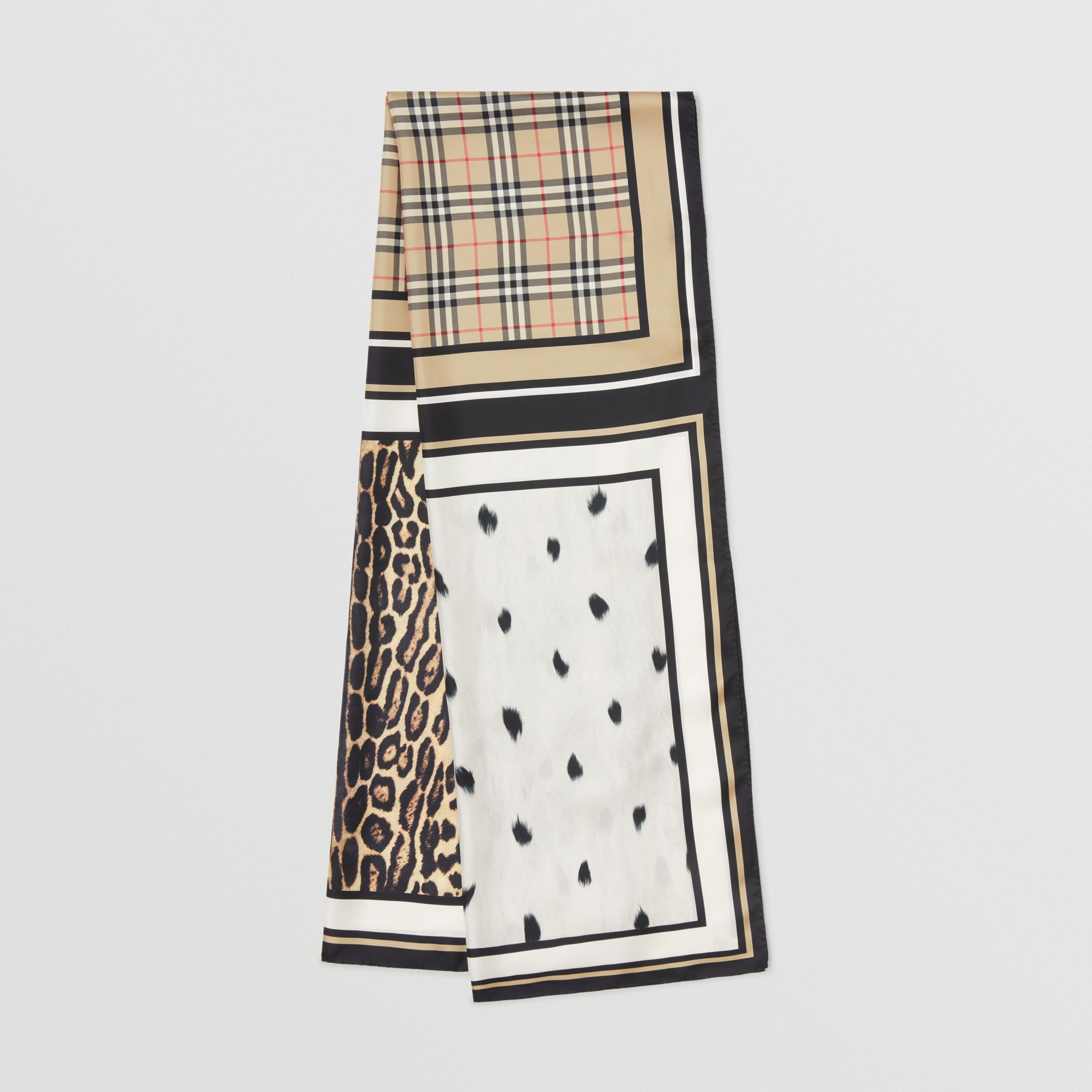 Vintage Check and Animal Print Silk Scarf in Archive Beige - Women | Burberry - 1