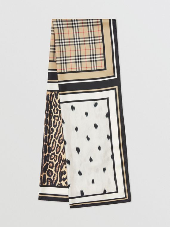 Vintage Check and Animal Print Silk Scarf in Archive Beige