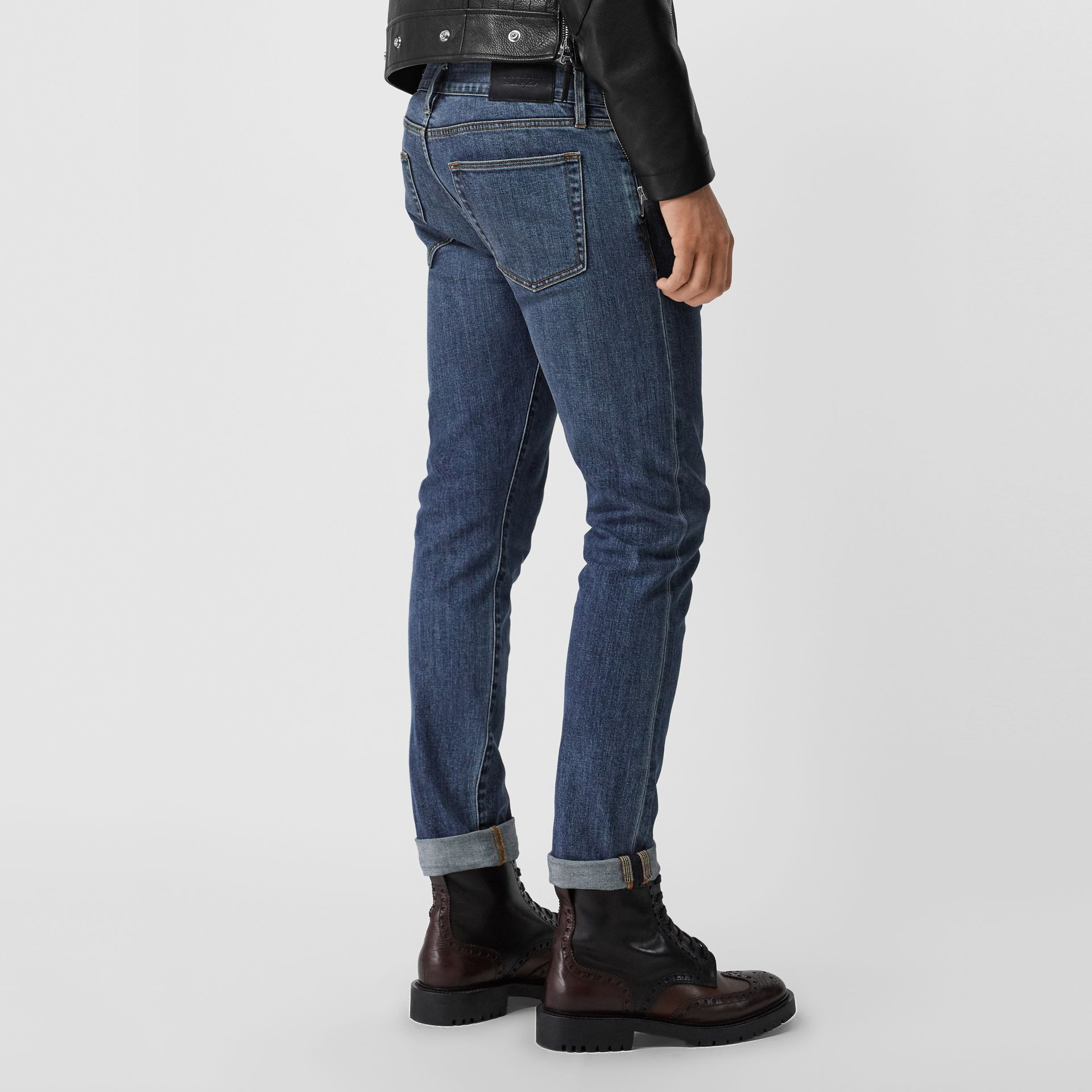 Straight Fit Washed Japanese Selvedge Denim Jeans in Light Indigo - Men | Burberry - gallery image 2