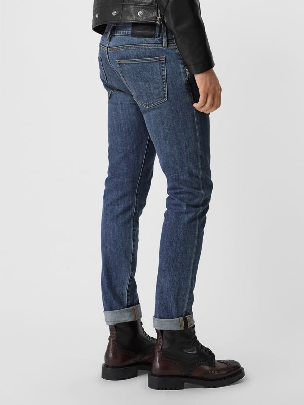 Straight Fit Washed Japanese Selvedge Denim Jeans in Light Indigo - Men | Burberry Australia - cell image 2