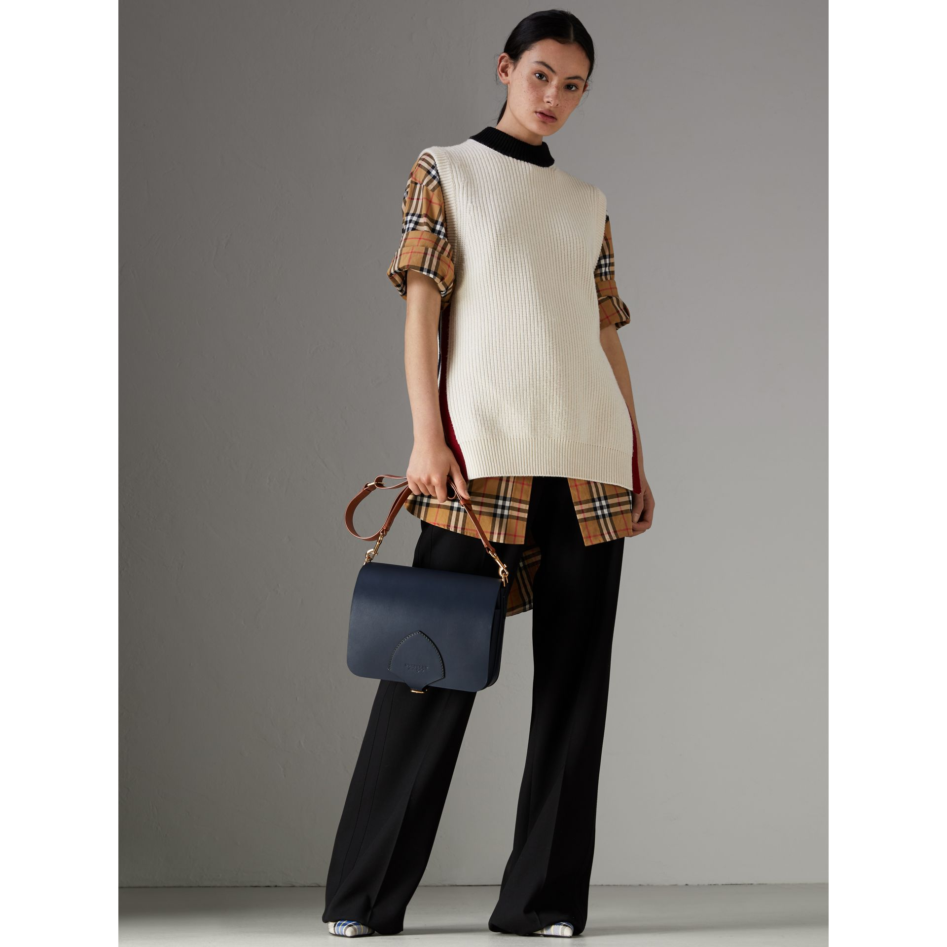 The Large Square Satchel in Leather in Mid Indigo - Women | Burberry United States - gallery image 2
