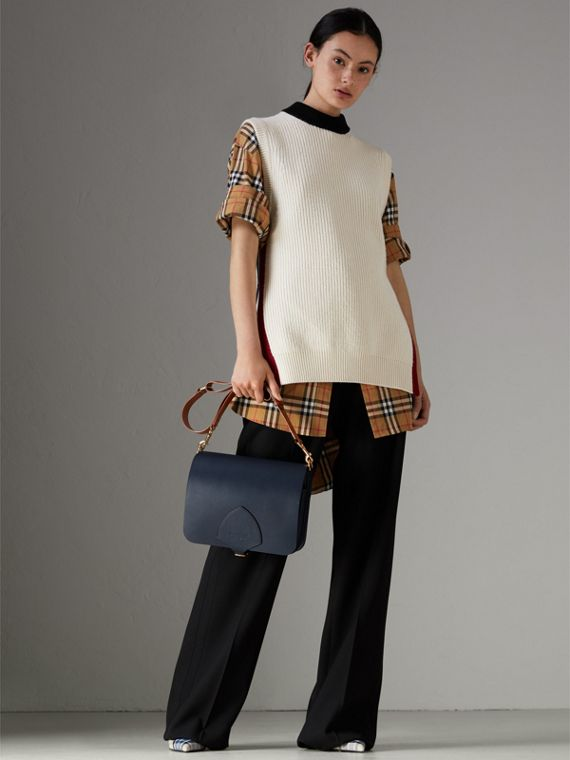 The Large Square Satchel in Leather in Mid Indigo - Women | Burberry United States - cell image 2