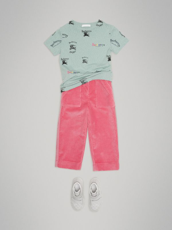 Archive Logo Print Jersey T-shirt in Mint - Children | Burberry - cell image 2