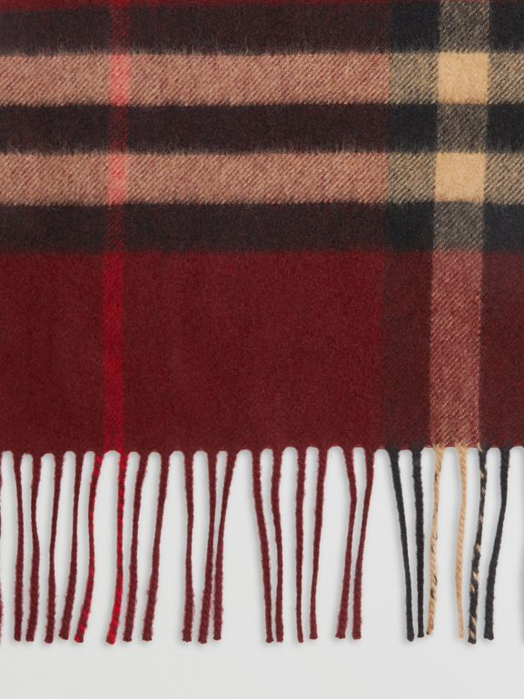 The Classic Check Cashmere Scarf in Claret | Burberry Australia - cell image 1