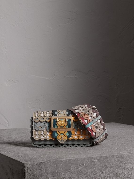 The Small Buckle Bag in Laser-cut Leather and Snakeskin in Celadon Blue