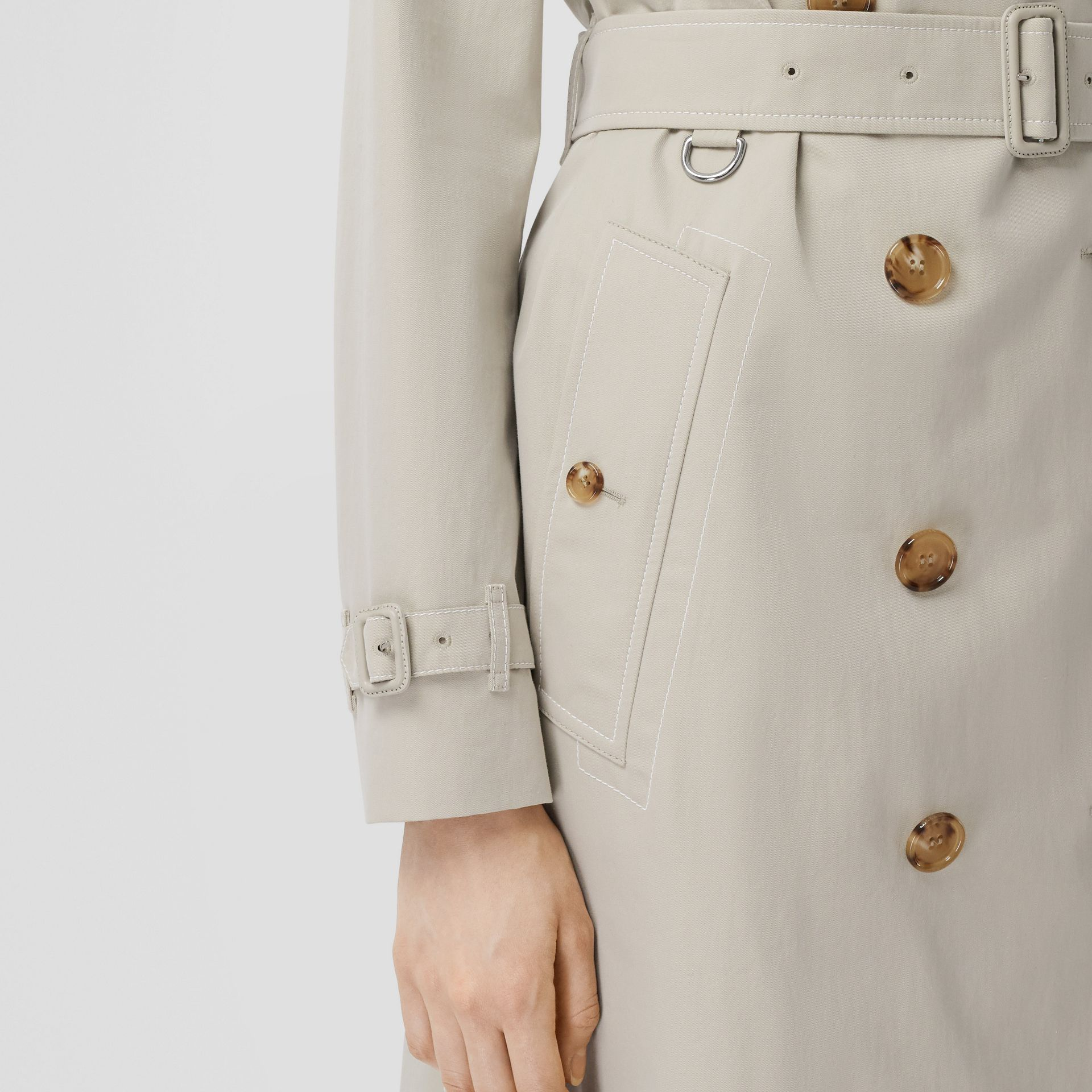 Topstitched Tropical Gabardine Trench Coat in Stone - Women | Burberry - gallery image 4