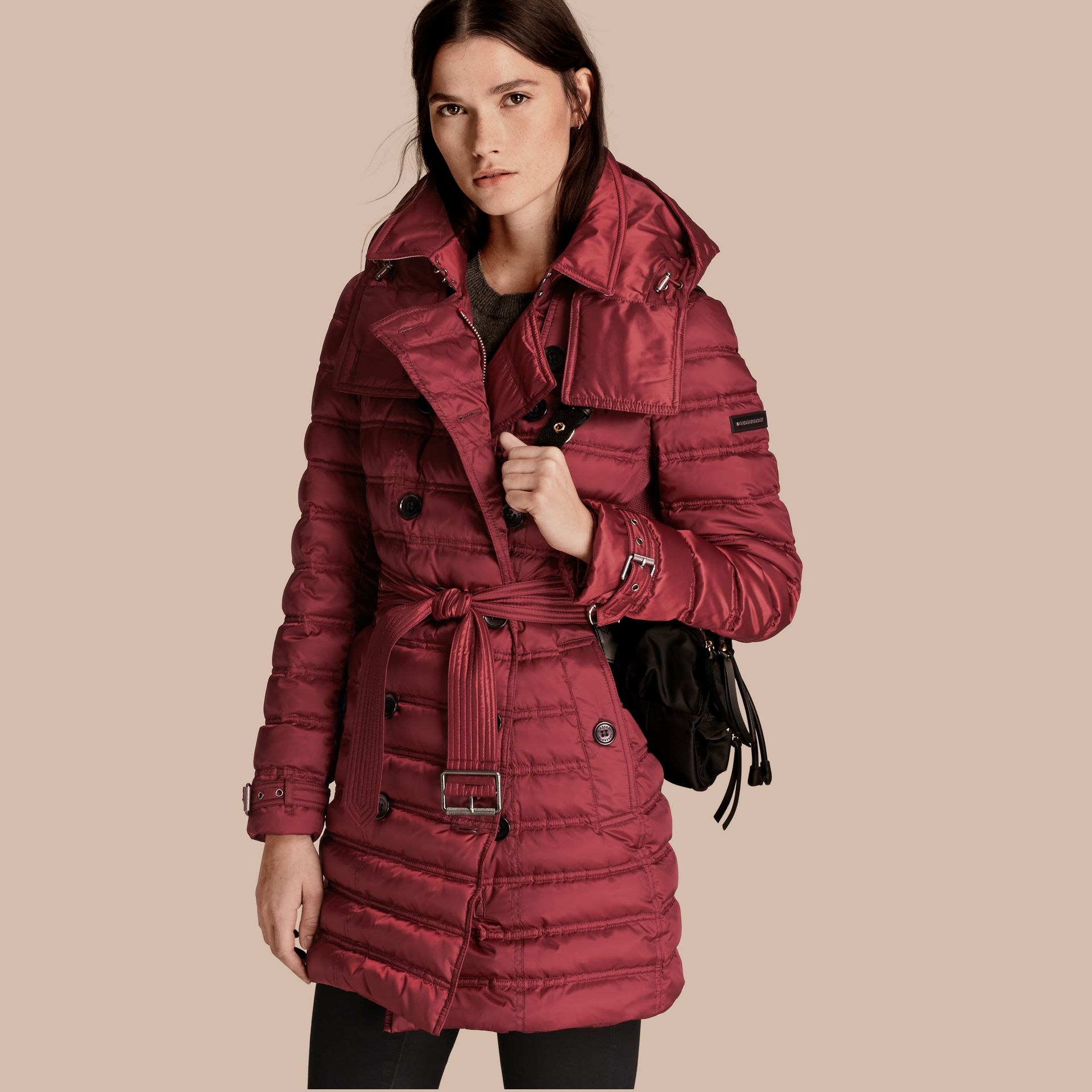 Dark crimson Down-filled Puffer Coat Dark Crimson - gallery image 1