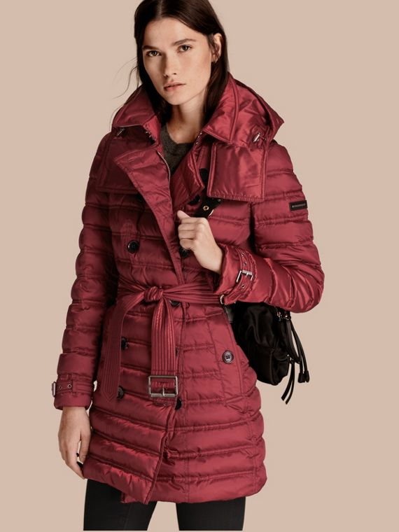 Down-filled Puffer Coat in Dark Crimson