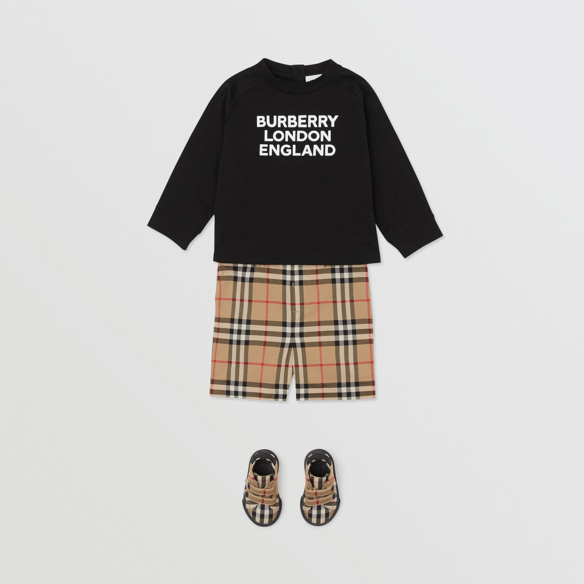 Long-sleeve Logo Print Cotton Top in Black - Children | Burberry United Kingdom - gallery image 3