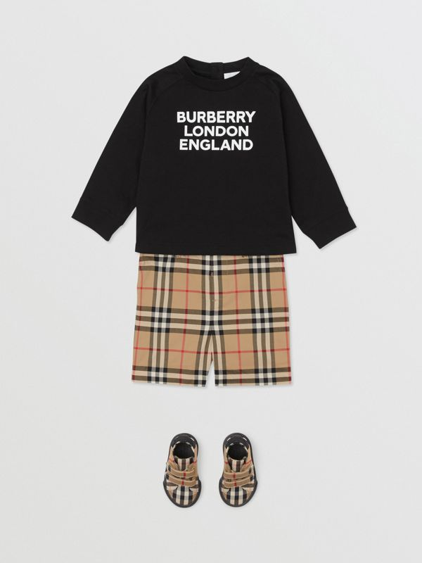 Long-sleeve Logo Print Cotton Top in Black - Children | Burberry United Kingdom - cell image 3