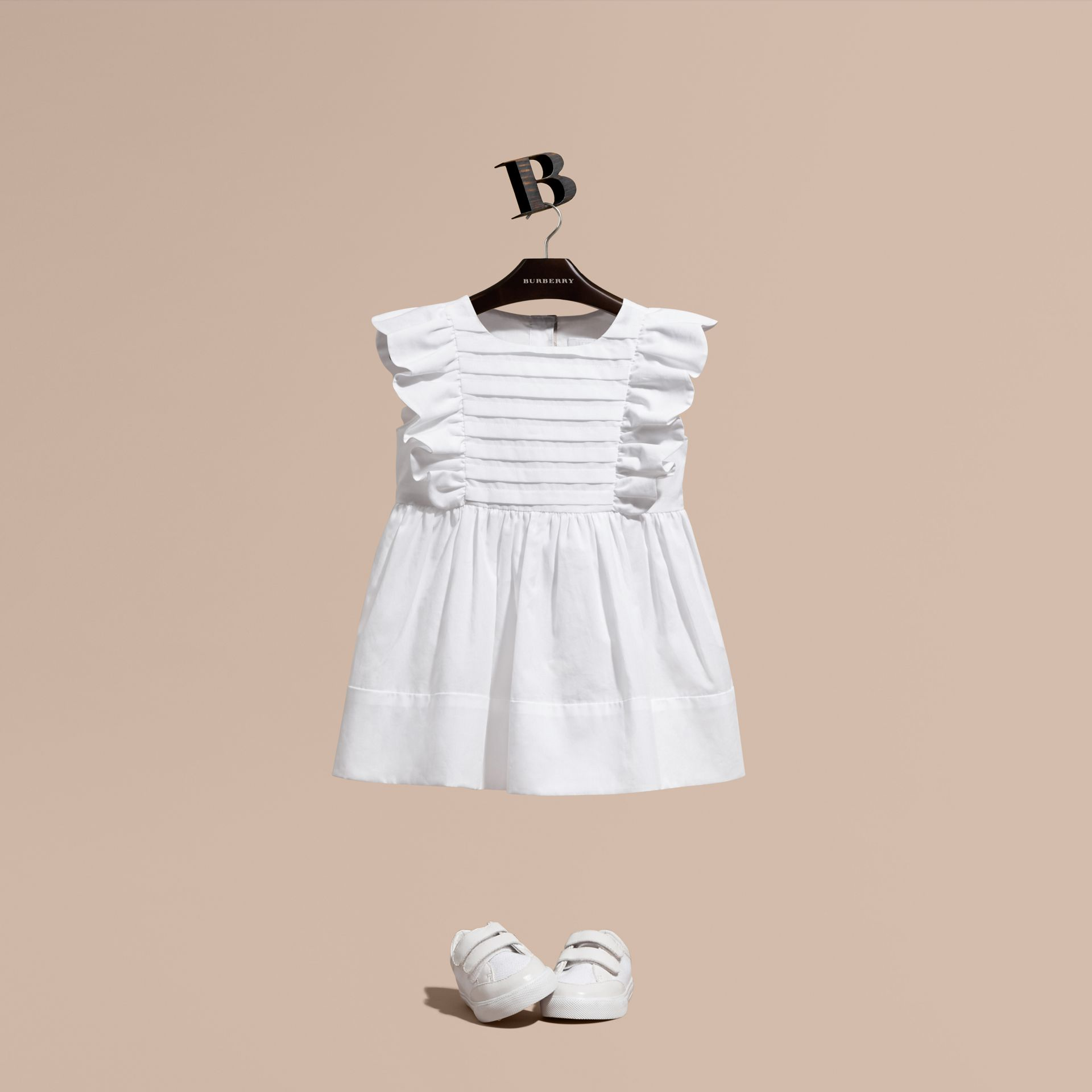 Ruffle and Pleat Detail Cotton Dress in White | Burberry - gallery image 1