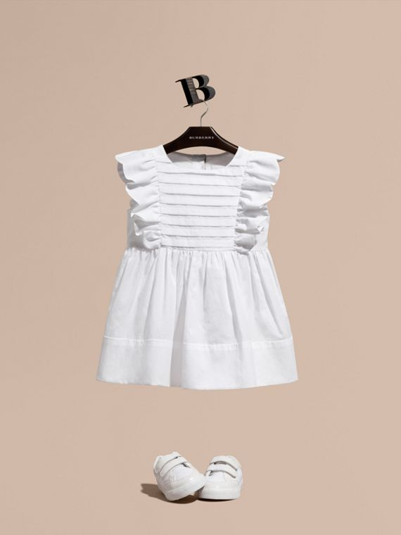 Ruffle and Pleat Detail Cotton Dress