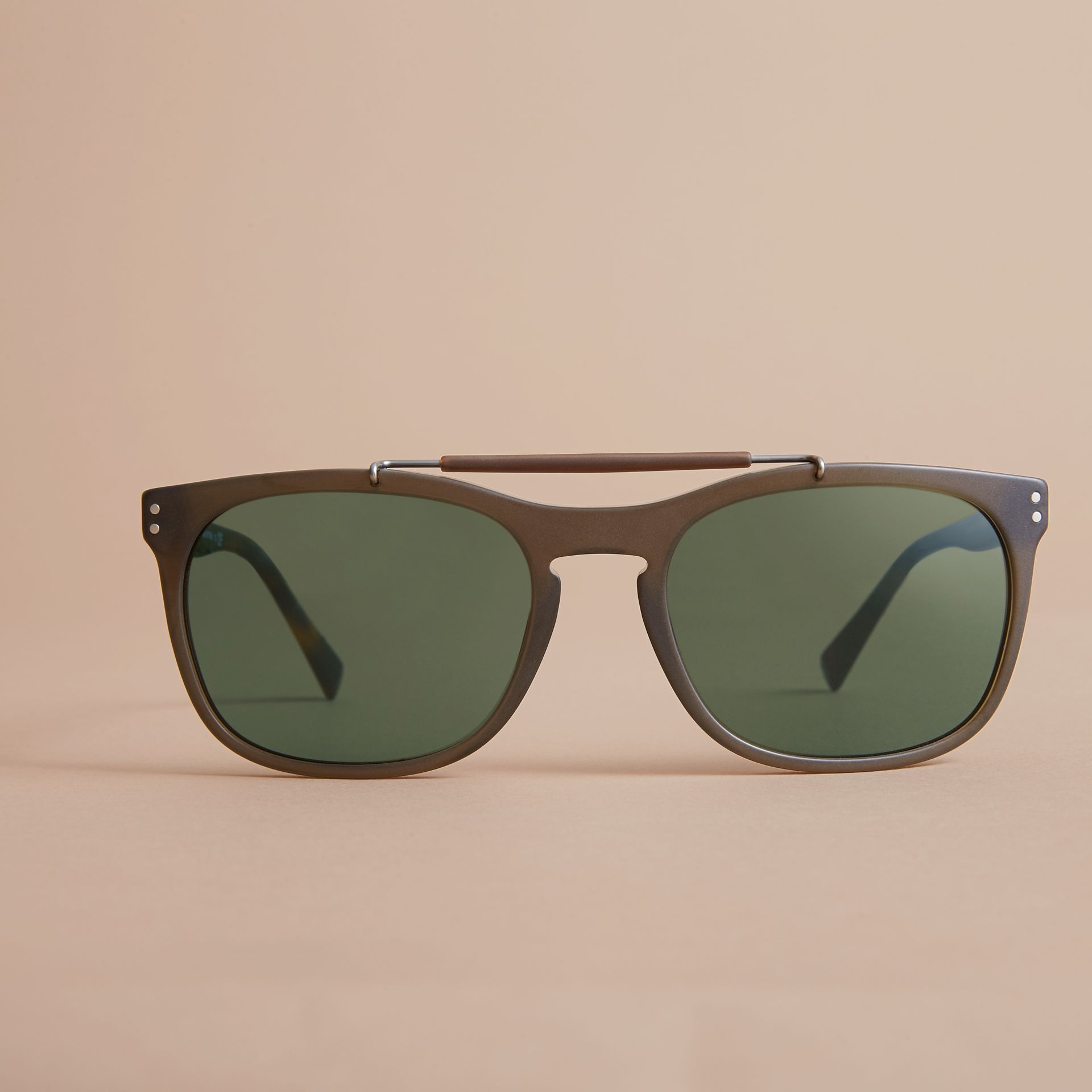 Top Bar Square Frame Sunglasses in Olive - Men | Burberry United States - gallery image 2