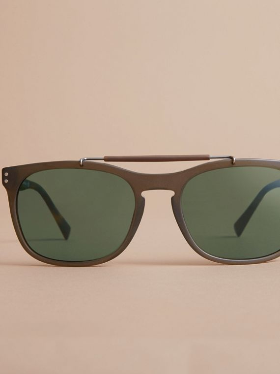 Top Bar Square Frame Sunglasses in Olive - Men | Burberry United States - cell image 2