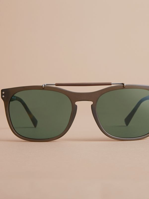 Top Bar Square Frame Sunglasses in Olive | Burberry Canada - cell image 2