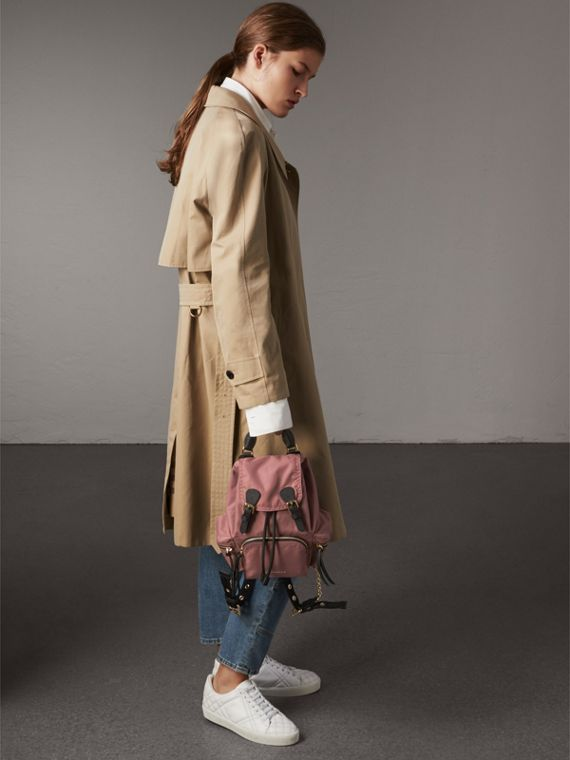 The Small Rucksack in Technical Nylon and Leather in Mauve Pink - Women | Burberry - cell image 2