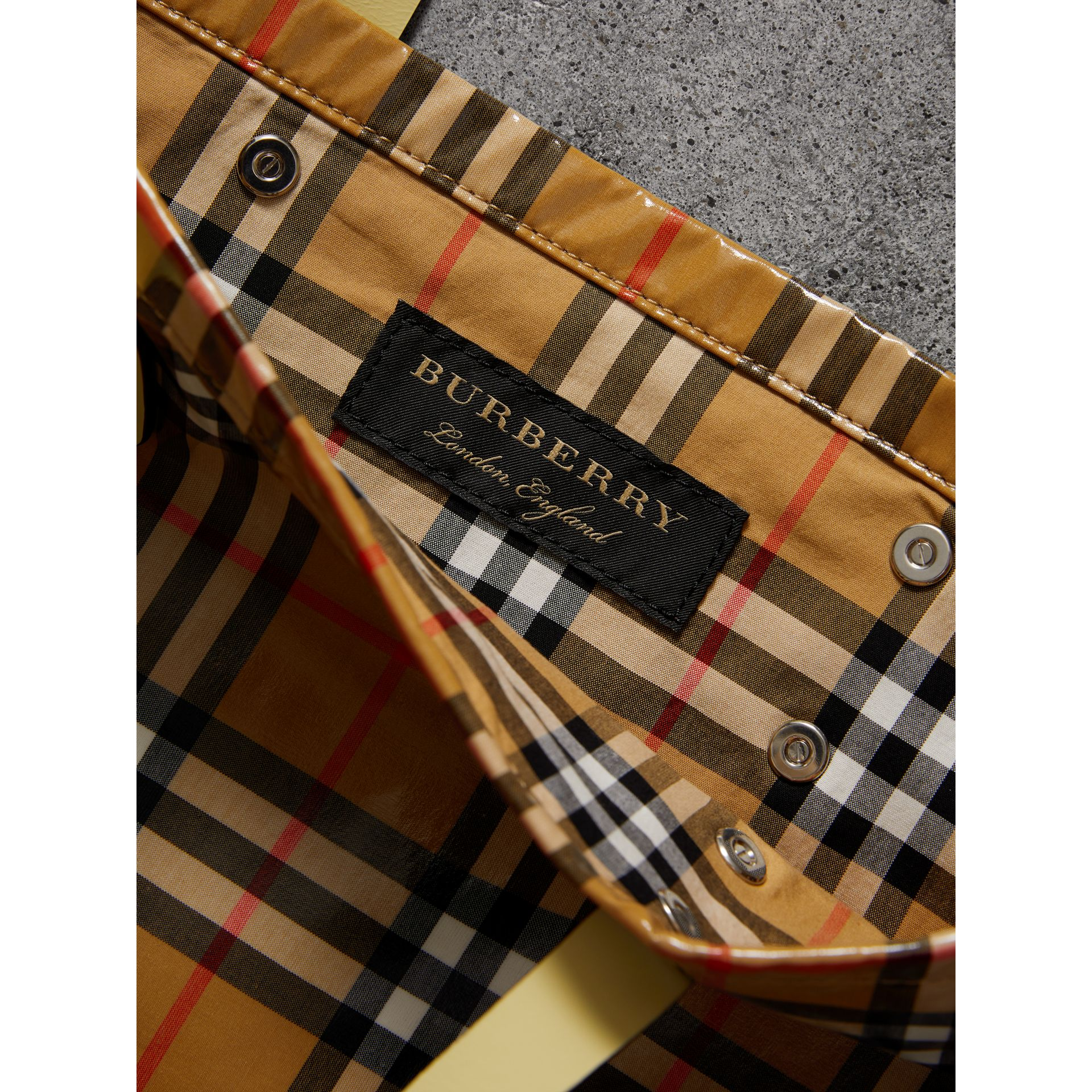 Medium Coated Vintage Check Shopper in Pale Yellow | Burberry - gallery image 6