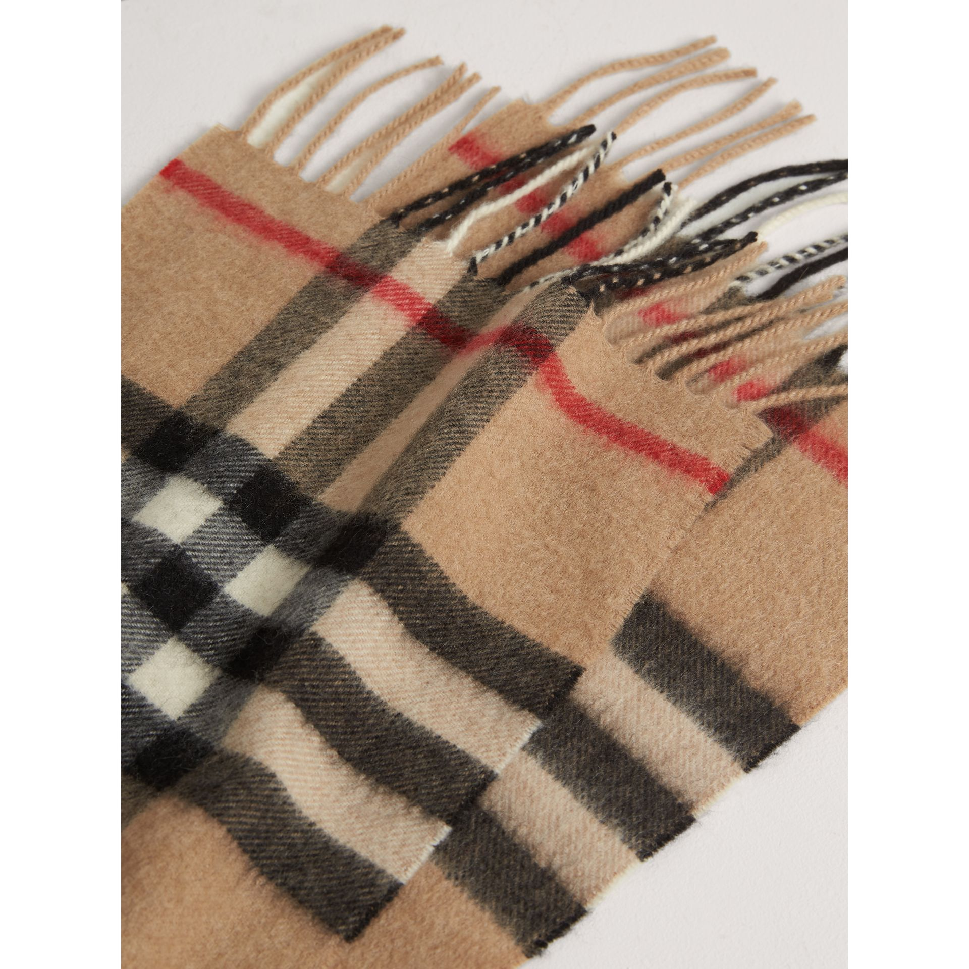 The Mini Classic Check Cashmere Scarf in Camel | Burberry - gallery image 1