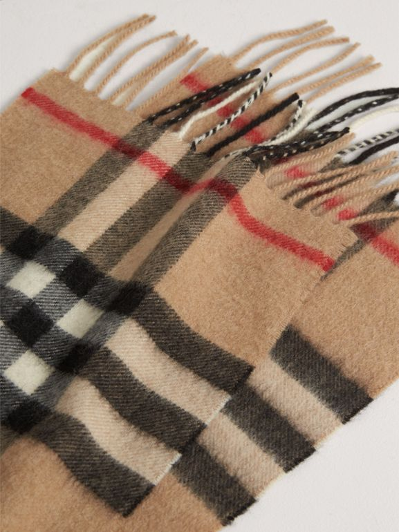 The Mini Classic Check Cashmere Scarf in Camel | Burberry - cell image 1