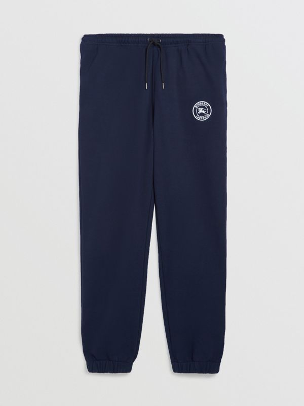 Embroidered Logo Jersey Track Pants in Navy - Men | Burberry - cell image 3
