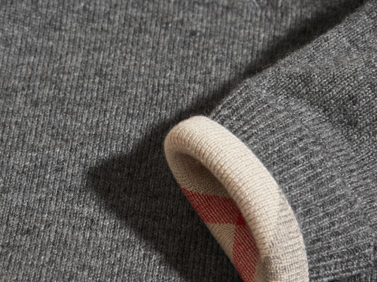 Mid grey melange Check Detail Cashmere Sweater Mid Grey Melange - cell image 1